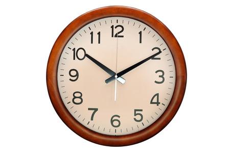 clock: Circle clock wooden frame, 10 O clock
