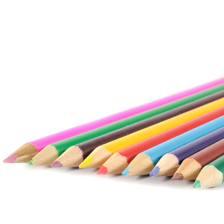 multi colors: Multi colors wood-pencils on white background.