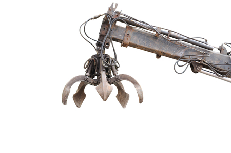 gripper: Clamshell with Hydraulic crane isolated on white background clipping path included.