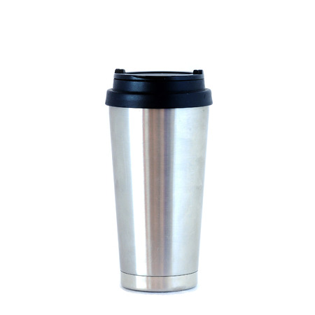 Stainless bottle on white background.