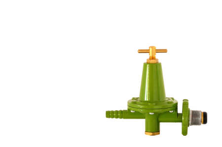 Single green color high pressure valve gas Stock Photo