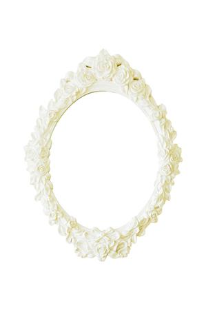mirror frame: Photo and mirror vintage frame  on white background. Stock Photo