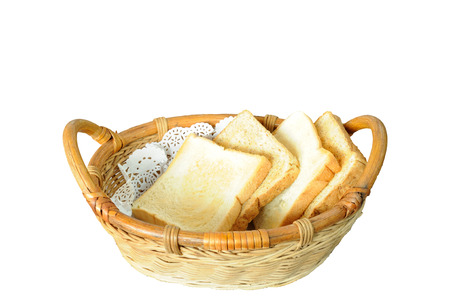 bread basket: Rattan bread basket isolated, clipping path included. Foto de archivo