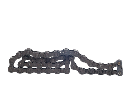 Black motorcycle chain on white background Stock Photo