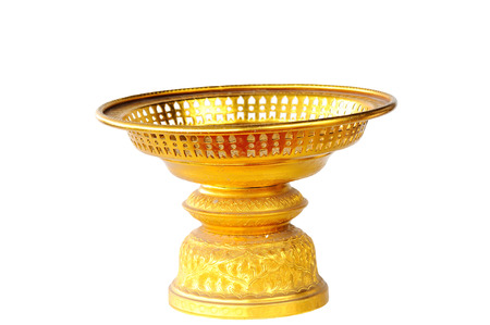Gloden tray with pedestal on white background
