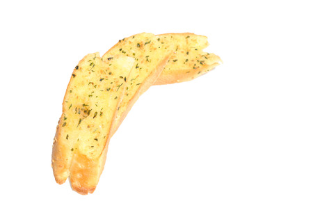Garlic breads in row on white background
