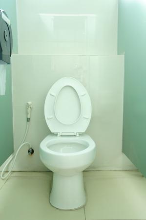 rinse spray hose: Public toilets with facilities, rinse spray hose  and tissue box.