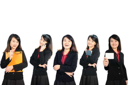 woman profile: Asian middle business woman profile in action. Stock Photo