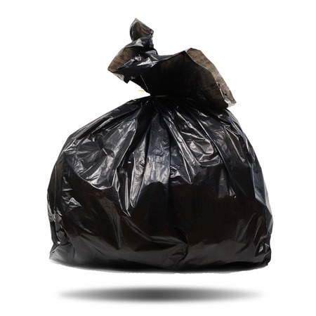 black plastic garbage bag: Single black plastic garbage bag on white background, clipping path included.