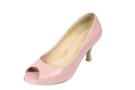 Pink court shoe on white background, fashion concept