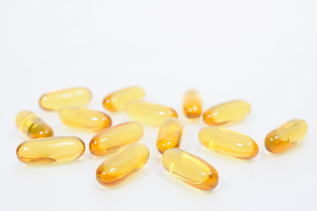 enriched: Cod liver oil omega 3 gel capsules Stock Photo