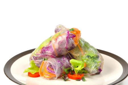 Vietnamese spring rolls lay on plate, BANH CUON Stock Photo