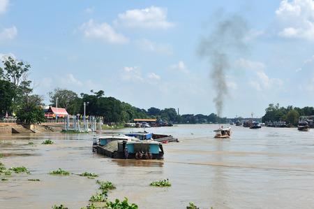 chao praya: CHAO PRAYA River with transportation boat in Thailand.