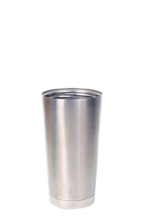 Single stainless bottle on white background.