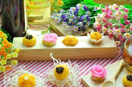 Thai royal sweet dessert on red and white strip napkin, food stylist. Stock Photo