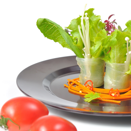 BANH CUON, Vietnamese spring rolls lay on plate