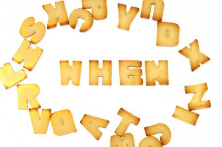 4p: Biscuit alphabets spelling to 4P marketing, business concept