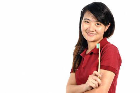 Asian middle woman 30 years old brushing her teeth, Oral health conception