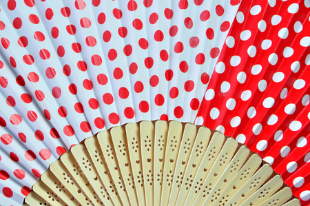 Close up Chinese red fan for background.