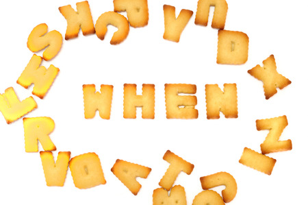 where to eat: Biscuit alphabets spelling to 4P marketing, business concept