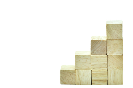 harmonize: Wooden cubes to be big one and step, business concept team work.