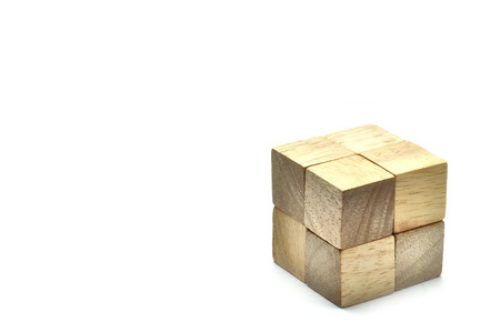 harmonize: Small 8 Wooden cubes to be big one, business concept team work.