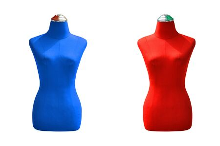 Blue and red half body mannequins on white background.