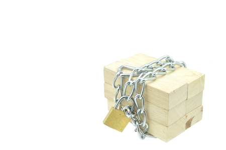 Wooden block be locked with chain and padlock, Business concept