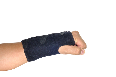 physical impairment: Patient black Wrist brace support, Orthopedic case, clipping path included.