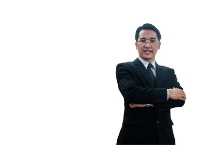 Confidence middle Asian business man standing arms crossed isolated with clipping path.