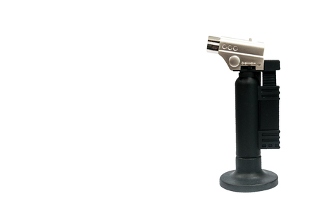 Single torch with black handle and base isolated on white with clipping path.