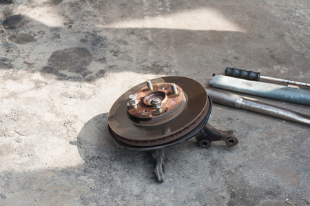 Car vehicle transportation disc brake equipment instrument and tools for maintenance service in operation area.