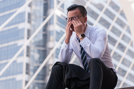 Frustrated business people has crisis problem with their jobs, feeling upset business concept. Stock Photo