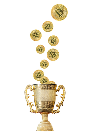 Clipping path included, Golden trophy cup for the winner of the business crypto currency game, Pride in success is a reward of life.
