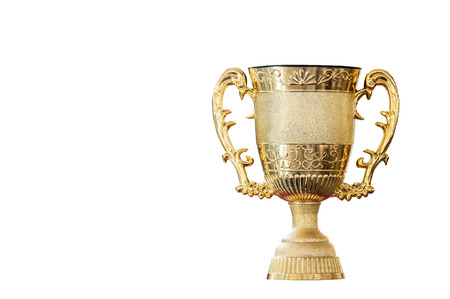 Clipping path included, Golden trophy cup for the winner of the business game, Pride in success is a reward of life. Banco de Imagens