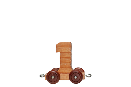 Wooden number with wheel for children education, learn and play game numbers toy for kindergarten school.  Education skill game. Banco de Imagens