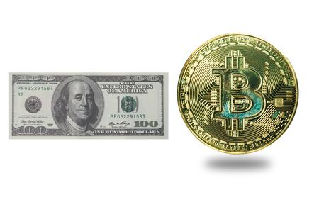 US Dollar compare with golden bit coin, real money and digital money. 写真素材 - 130039740