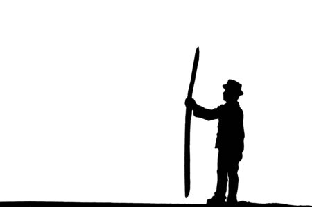 Selective focus silhouette mintature worker action holding equipment in hand isolated on white background.