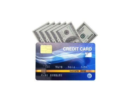 Credit cards for payment the debt banking fee, money less make cash flow.  US Dollar banknote isolated on white background with clipping path.