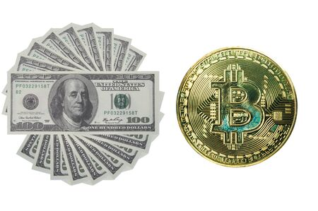 US Dollar compare with golden bit coin, real money and digital money. 写真素材 - 130040904