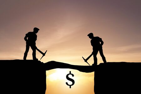 Sective focus miniature find the chance to invenst in dollar currency market.  Business concept find the dollar money.