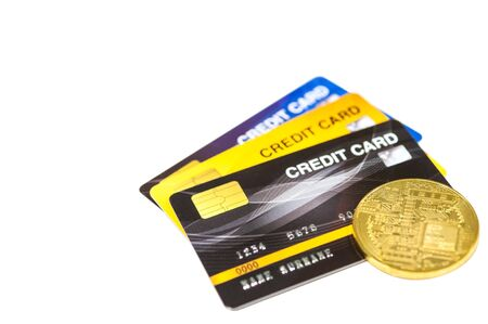 Credit cards and gold bitcoin cryptocurrency blockchain for payment the debt banking fee, money less make cash flow, new money monetary value.