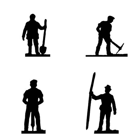 Selective focus silhouette mintature workers set isolated on white background.