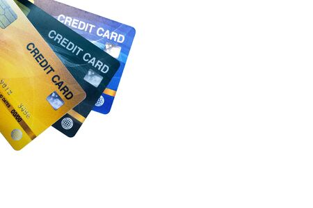 Credit cards for payment the debt banking fee, money less make cash flow. Isolated on white background with clipping path. Stockfoto