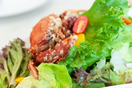 Close up soft shell crab salad healthy food.