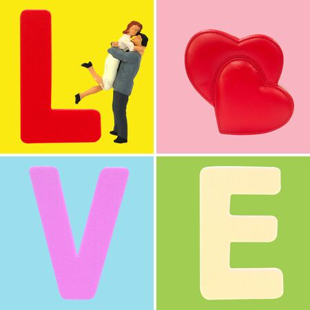 Love concept, miniature couple lover jumping hug with love and double red hearts, pastel color.