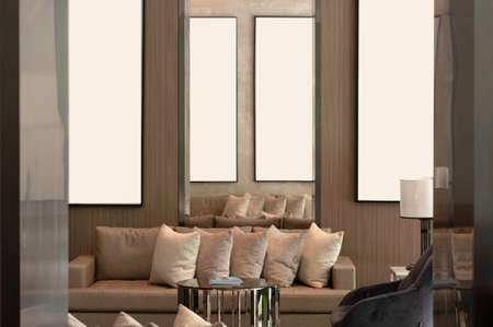 Lobby living room earth tone color, cozy luxury sofa and pillow,