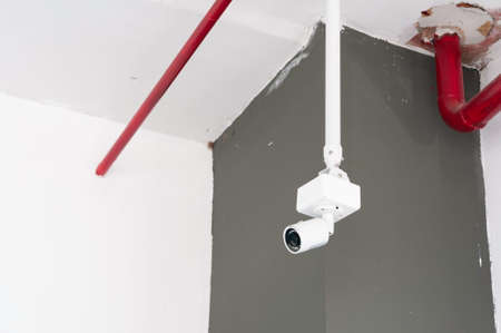 Camera CCTV in the office building and inconstruction area, security and safety.