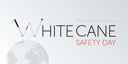 White cane international safety day design. Awareness for blinded ones.