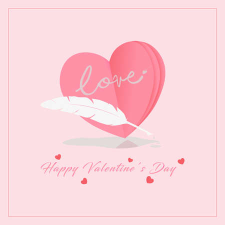 Valentine's Day concept. 3d heart, feather and ink with pink background. Vector illustration.